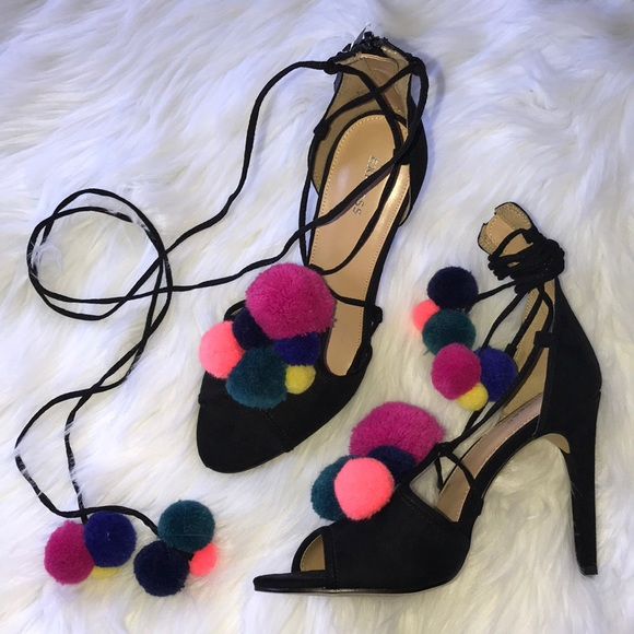 Express Shoes | Colorful Laceup Pom Pom